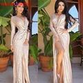 2017 Brilhante Rosa de Ouro Lantejoulas Prom Vestidos Sexy Profundo Decote em V Neck Mangas Compridas Alta Fenda Do Vestido de Partido Ocasião Formal vestido de Noite vestidos