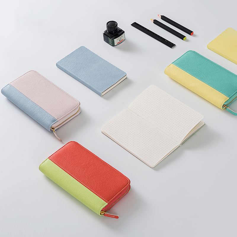 2018 Cute Leather Zipper Notebook Hand Account and Purse School Travelers Notebook A6 Planner Portable Note Pad Gifts Stationery