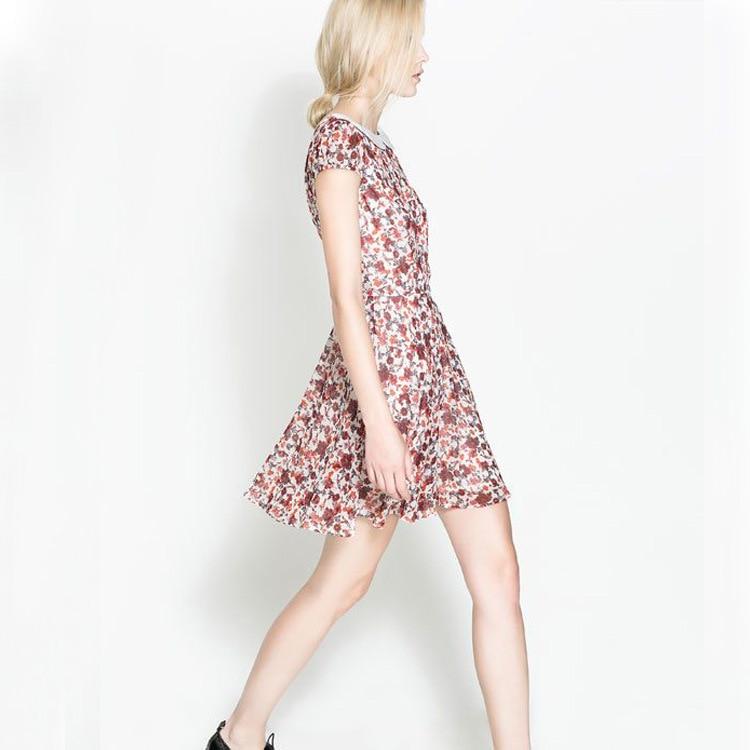 ASDS Women Dress 2018 Summer Floral Printed Peter Pan Collar Vintage Dress Fashion Ladies Leak Back WQZ11534