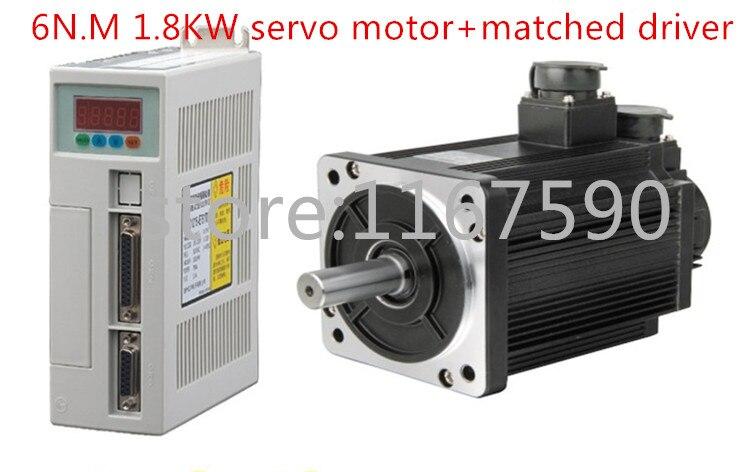 NOUVEAU Servo moteur système kit 6N. M 1.8KW 3000 RPM 110ST AC Servo Moteur 110ST-M06030 + Assortie servomoteur pilote