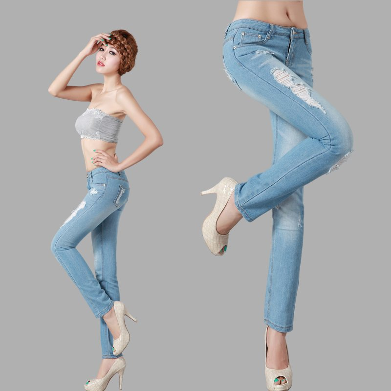 Womens Distressed Jeans Pants For Women Light Blue 100