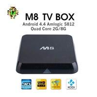 M8 S802 הטלוויזיה BOX Amlogic Quad-Core Cortex A9 אנדרואיד הטלוויזיה החכם box 2 GB זיכרון RAM 8 GB ROM 2.4 גרם/5 גרם הכפול Wifi Bluetooth 4.0 4 k סט למעלה תיבת