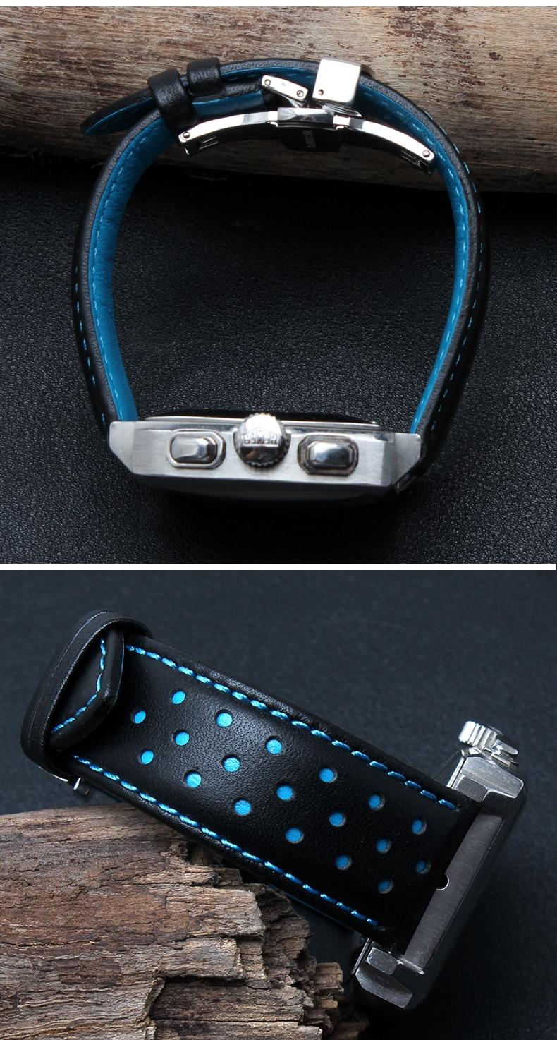 20mm 22mm 실제 소 가죽 수제 블랙 레드 블루 교체 손목 - 시계 액세서리 - 사진 5