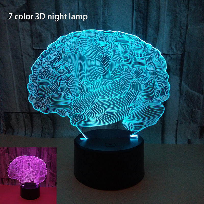 3d Brain Shape Light Fixtures Colorful Bedroom Bedside 3d Small Night Light Customized Valentine Day Gift Kids Lamp