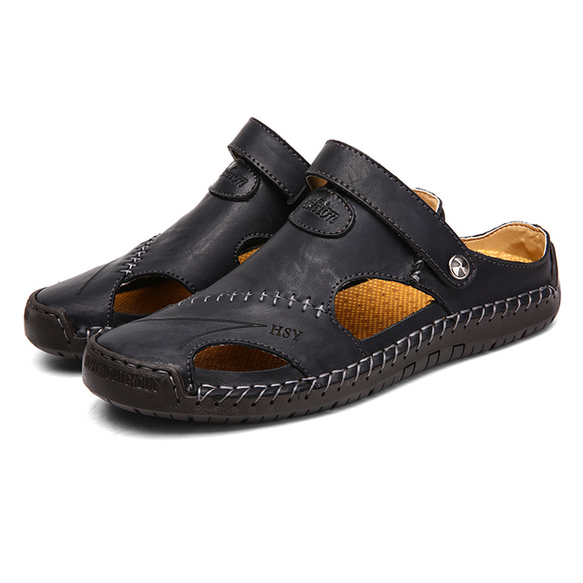 New Classic Leather Men Soft Sandals Shoes Summer Leisure Beach Roman Men Sandals High Quality Sandals Slippers Bohemia Big Size 4