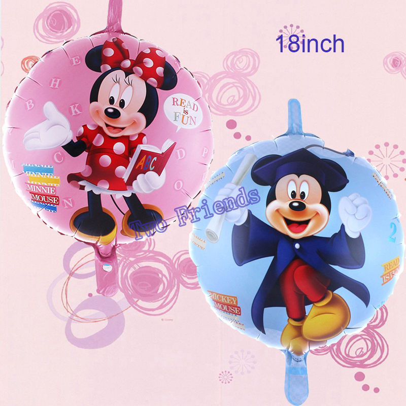 30pcs/lot 18inch cute Mickey doctor balloons cartoon Mickey Minnie mouse helium Ballons for Kids Birthday Party Decorations