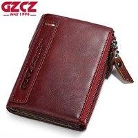 GZCZ Genuine Leather Women Wallet Female Coin Purse Pockets Luxury Brand Vintage Small Walet Female Zipper