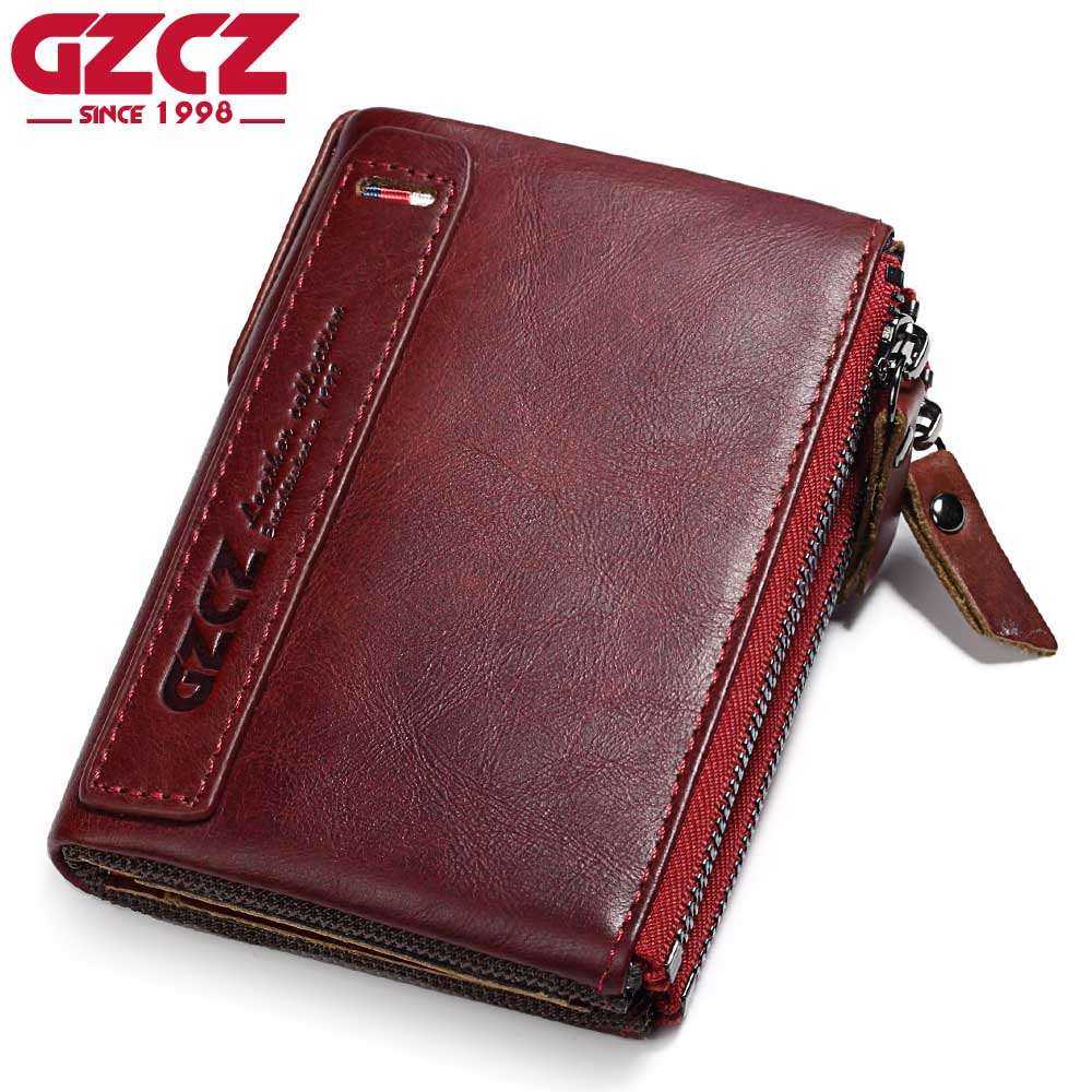 купить GZCZ Genuine Leather Women Wallet Female Coin Purse Pockets Luxury Brand Vintage Small Walet Female Zipper Design Portomonee по цене 926.81 рублей