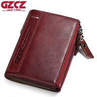 GZCZ Genuine Leather Woman Wallet Female Coin Purse Pockets Luxury Brand Vintage Small Walet Female Zipper