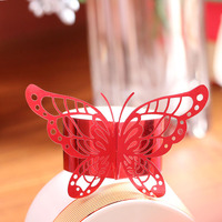 60PC Red Porta Guardanapo Laser Cut Vine Butterfly Paper Napkin Rings Holders Favors and Gifts Party Wedding Invitations Decor