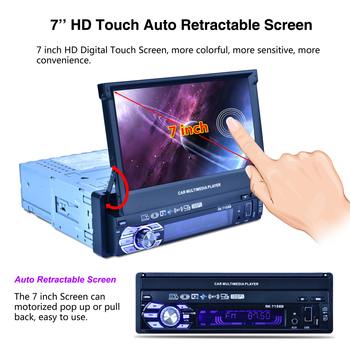 7'' 1 Din High Digital Bluetooth HD Touch Auto Retractable Touch Screen Car Video Stereo Player Support Mirror Link / Camera