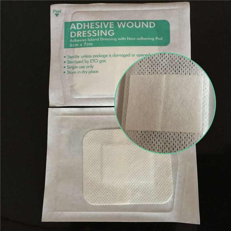 10 Stks/partij Non-woven Zelfklevend Wondverband Band Ademend Aid Bandage Wond Ehbo 6*7 Cm