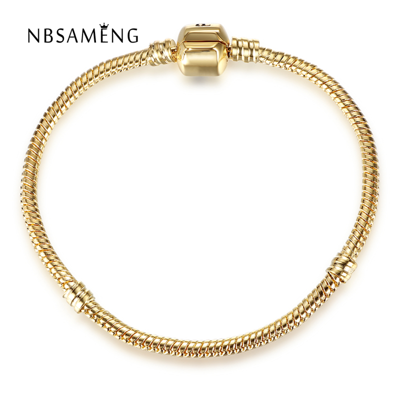 Real Original 925 Sterling Silver Gold Color Barrel Clasp Snake Chain Basic Bracelet Bangle Fit Pan Women Bead Charm DIY Jewelry 925 sterling silver pandora bangle poetic blooms clasp snake chain bracelet bangle fit women bead charm diy europe jewelry