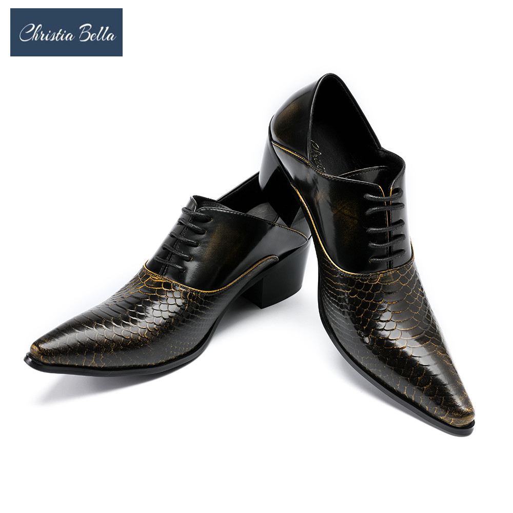 Christia Bella Fashion Retro Pointe Toe Mens Shoes Lace Up High Heel Embossed Leather Shoes Men Oxford Wedding Shoes Party