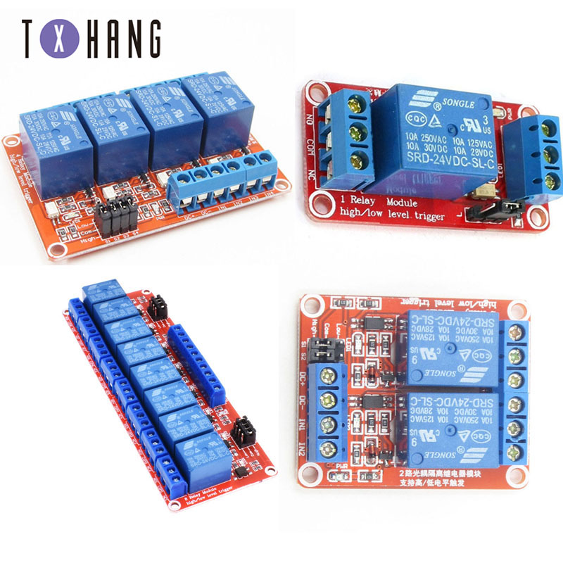 Relay module 1 2 4 Channel 24V Relay Module Board Shield with Optocoupler Support High and Low Level Trigger