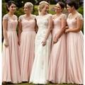 Long Pink Bridesmaid Dresses Sleeve Formal Sweetheart Chiffon Pleated Back Zipper Floor Length Vestido De Festa
