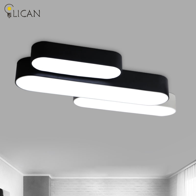 LICAN Rectangle White/Black Modern led ceiling lights for living room bedroom Home DIY Minimalism lustres de sala Ceiling Lamp white black modern led ceiling lights for living room bedroom square rectangle home dec modern led ceiling lamp free shipping
