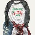 Camiseta Encabeça Mulheres Charistmas Letra Impressa de Manga Longa O Pescoço Emenda Casual T-Shirt Camisetas Mujer S/M/L/XL
