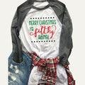 Camiseta Tops Mujeres Charistmas Impreso Letra de Manga Larga O Cuello de Empalme Casual Camiseta Camisetas Mujer S/M/L/XL