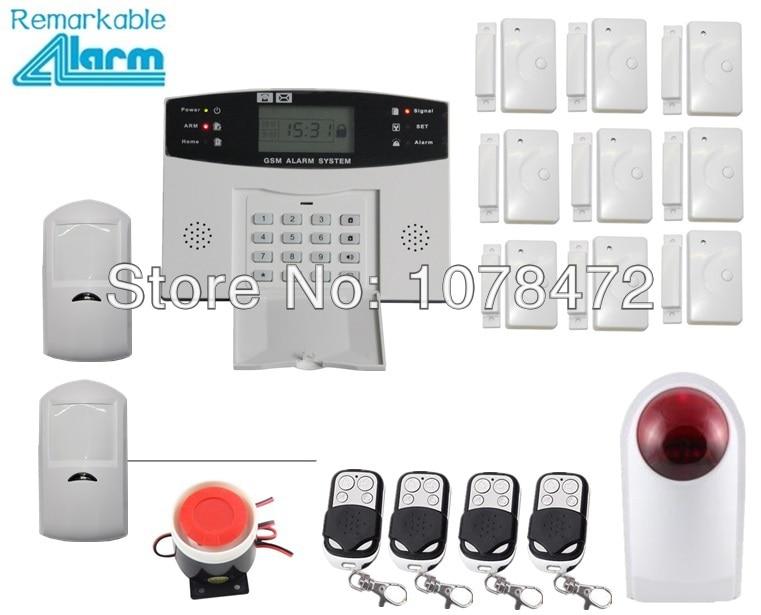 Индивидуальный набор, ЖК дисплей дисплей GSM SMS дома аварийная система, + датчик двери + извещатель + Wireless Outdoor Strobe Siren, GSM сигнализация