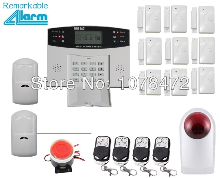 Customized set,LCD display GSM SMS home alarm system,+door sensor+PIR detector+ wireless outdoor strobe siren,GSM alarm system ir 4beams outdoor 20m infrared barrier detector home yard door alarm for my gsm alarm system