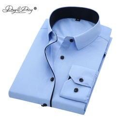 DAVYDAISY Высокое качество Мужские рубашки с длинным рукавом саржа сплошной рубашка в деловом стиле Брендовые мужские рубашки DS085
