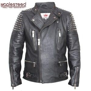 Image 2 - Мужская кожаная куртка с заклепками MAPLESTEED, черная Толстая байкерская куртка из воловьей кожи в стиле панк, мотоциклетная одежда для зимы, м139, 2019
