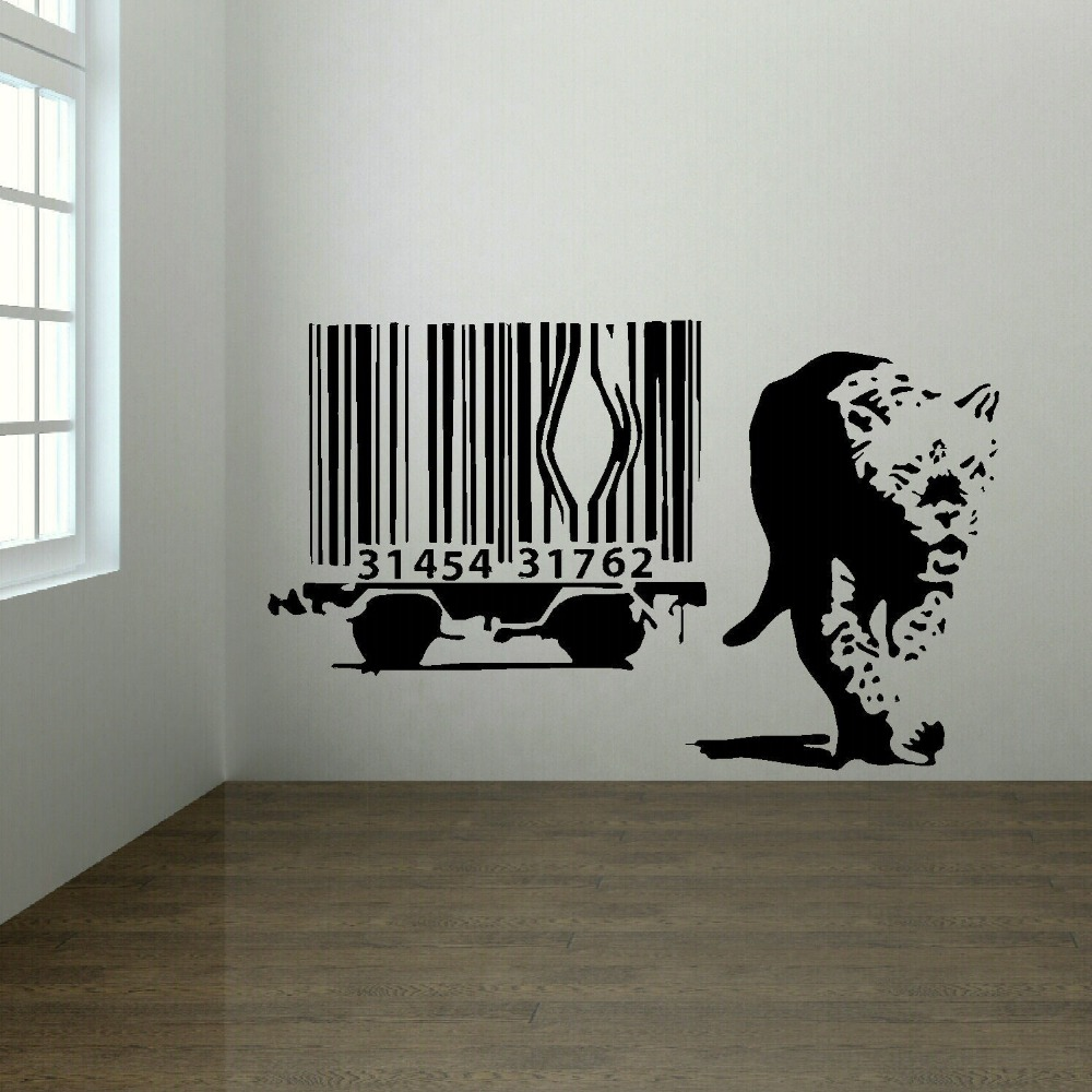 Banksy Wall Sticker Lion Barcode Escape New Art Uk