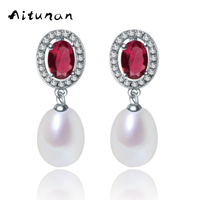 Aitunan Classic Big Red Zircon Natural Pearl Stud Earrings For Women 925 Silver With Good Zirconia