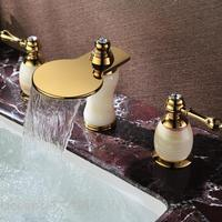 European antique marble double the three hole waterfall natural jade gold plated copper basin taps full eight inches