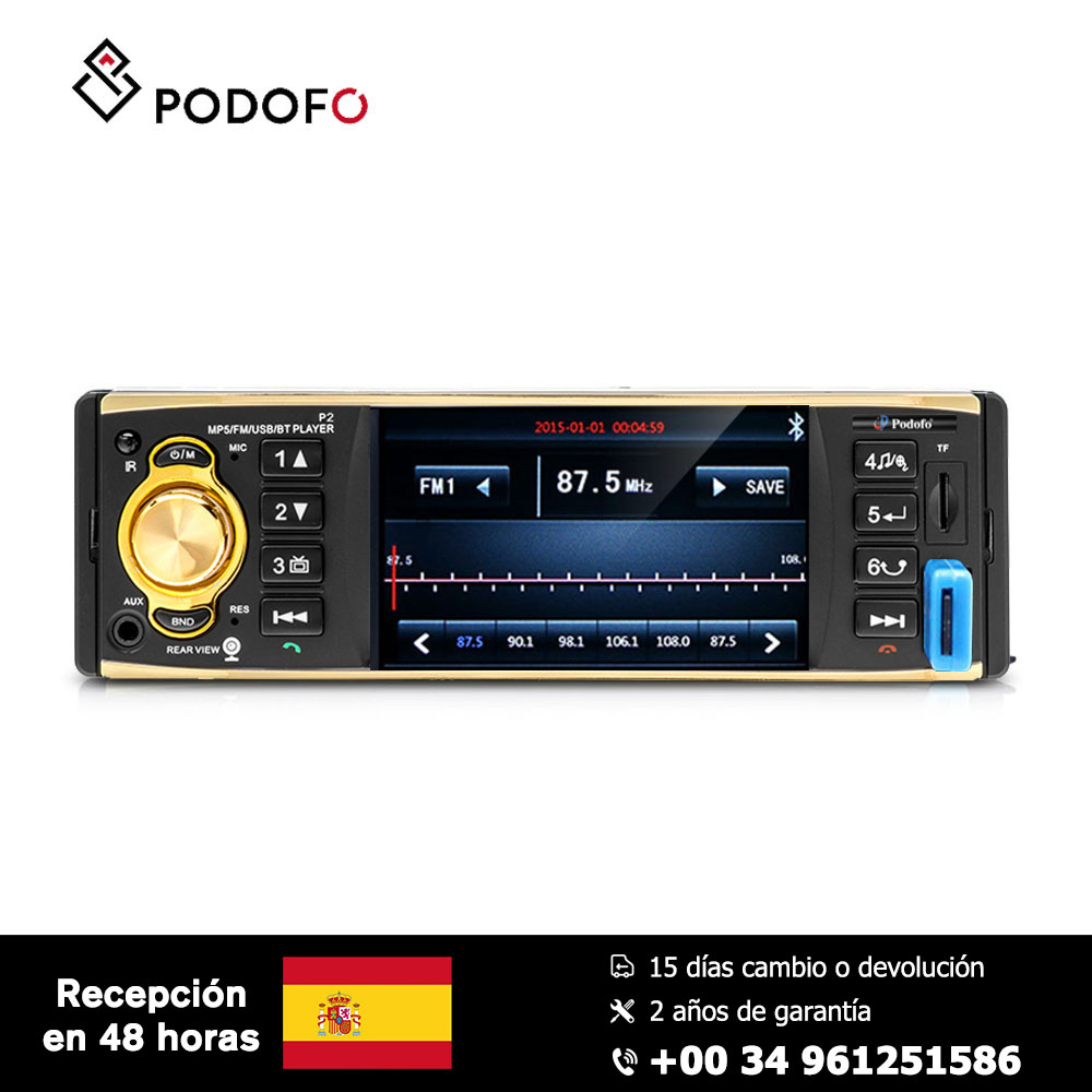 Podofo 1 Din Car radio HD Car MP5 Video Player Rear view Support FM AUX USB SD Bluetooth with Steering Wheel Control image