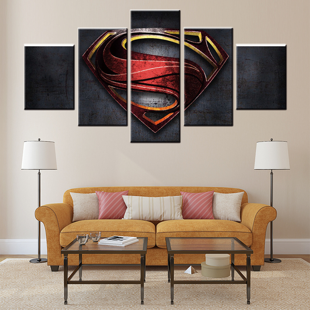 5 Pieces Black Superhero Canvas Oil Painting High Quality Picture Poster Home Decor Gift Painted