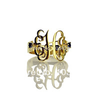 Personal Monogram Cut Script Hand 3 Initial Ring Monogrammed Gold Rings For Wemen With 2 Birthstone