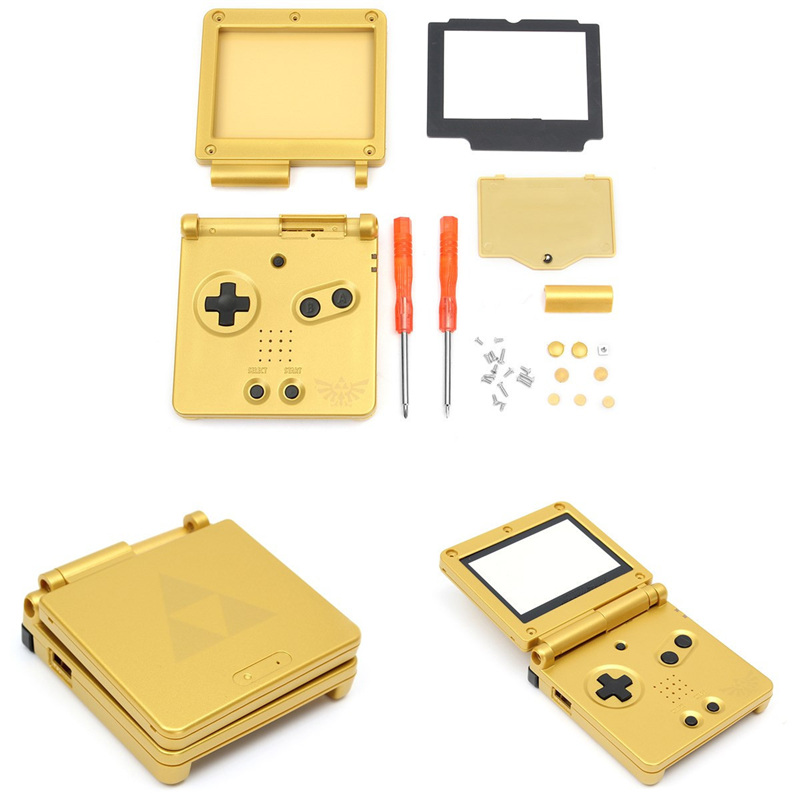 1 Set For GBA SP Replacement Golden Full Housing Shell Case+Screen Cover+Tool For Nintendo For Gameboy Advance SP