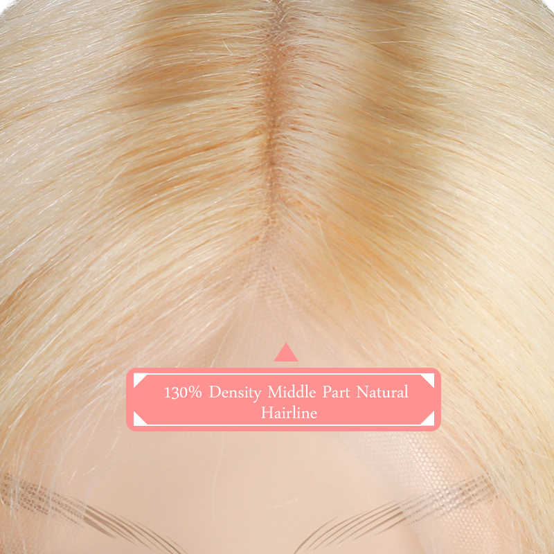Pelucas de encaje de la parte del pelo Remy brasileño 130% de la parte media de la densidad #1B/#613 pelucas cortas del pelo humano Ali peluca de encaje de la parte L del pelo de la Reina