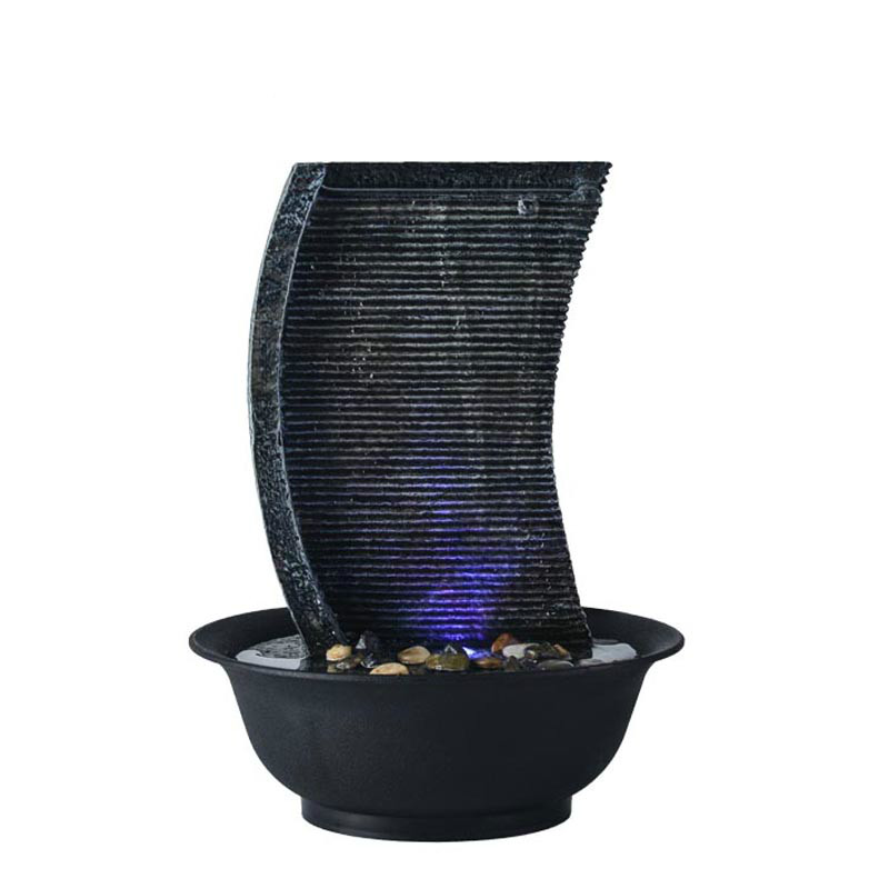 110V 220V Modern LED Sail Waterfall Mini Water Features Fountain Air Humidifier Feng Shui Lucky Tabletop Ornaments Creative Gift