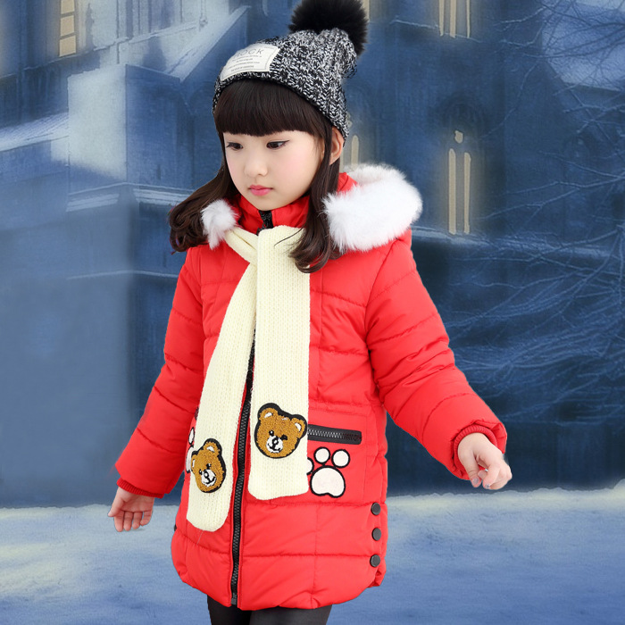 ФОТО The New 2016 Han Edition Child Cotton-padded Jacket Girls Winter Jackets Cotton-padded Clothes Children Bear Children's Clothes