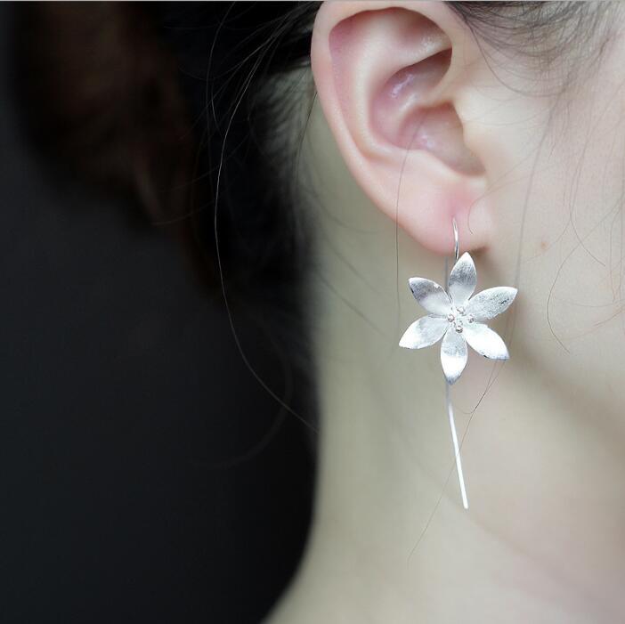 Jisensp Fashion 925 Silver Jewelry עגילי עבודת יד עבודת יד עגילי פרח גדול לנשים Brincos bijoux
