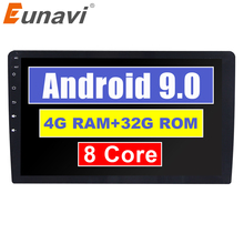 """Eunavi 2 Din 10.2 """"Octa core Universale Android 9.0 4 GB di RAM Car Radio Stereo GPS di Navigazione WiFi 1024*600 2din PC per auto"""