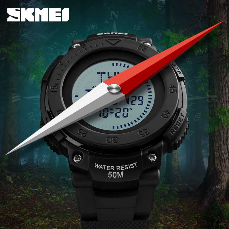 <font><b>SKMEI</b></font> Compass Outdoor Men Sports Watches Digital Mens Military Watch EL Backlight 5ATM Compass Wristwatch relogio masculino <font><b>1236</b></font> image
