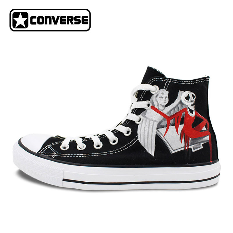8e9bba418cc8 Nightmare Before Christmas Black Converse Sneaker Men Womens Hand Painted  Canvas Shoes Custom Design Sneakers
