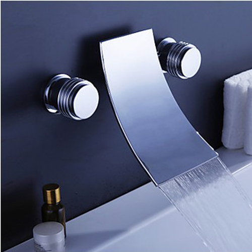 Bathroom faucet Waterfall basin faucet Into the wall washbasin water tap Double handle single hole basin faucet Tile water tap wall of the cold and hot water tap copper concealed washbasin single hole basin faucet stainless steel waterfall faucet lt 304 4