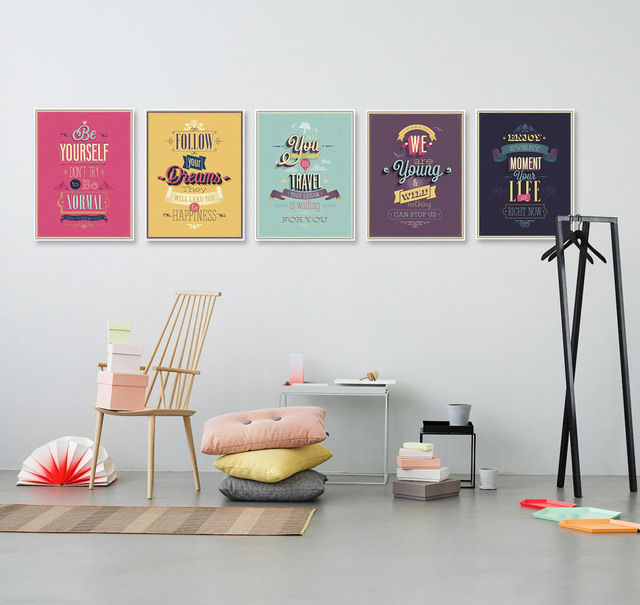 Motivational Typography Life Quotes Vintage Retro Art Prints Poster Hippie Wall Pictures Canvas Painting No Framed