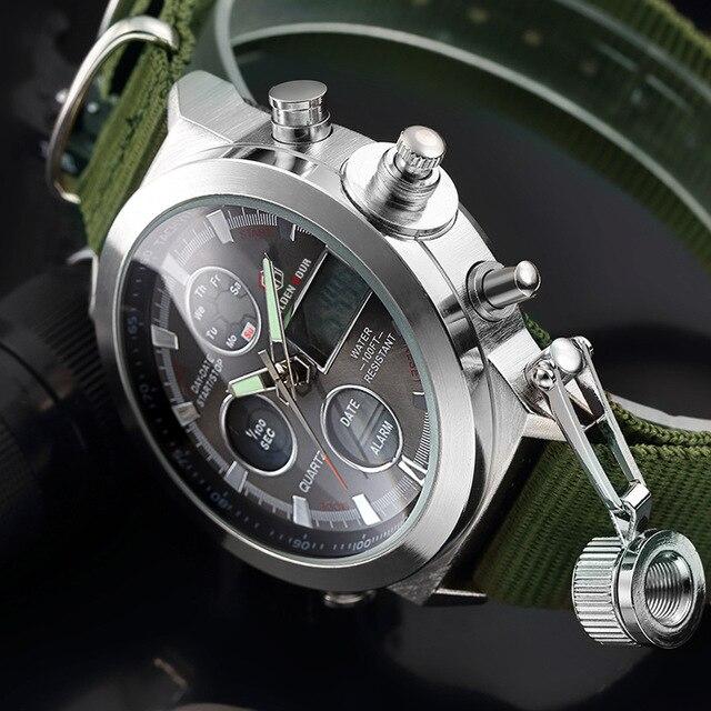 GOLDENHOUR Fashion Men Army Military Watch Mens Nylon Strap Sport Quartz Wristwatches Dual Display Waterproof Calendar Relogi