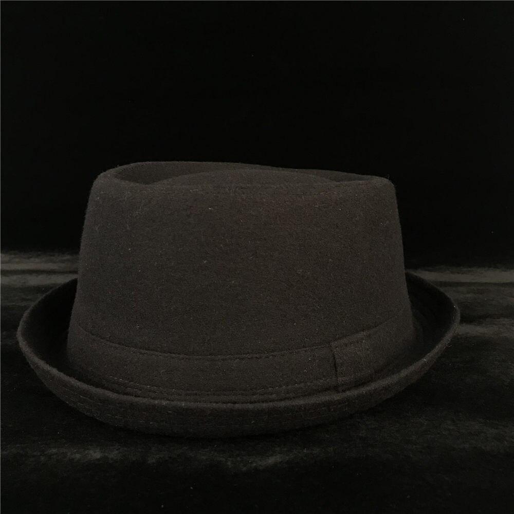 100% Wool Men Pork Pie Hat For Dad Winter Black Fedora Hat For Gentleman Flat Bowler Porkpie Top Hat Size S M L XL 4