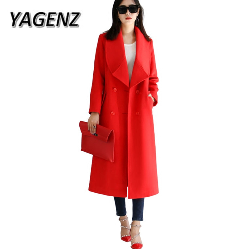 Red Winter Woolen Jacket Coats 2018 Fashion Double breasted Warm Lady Long Coats Plue size Solid Casual Jacket Boutique Clothing