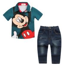Wasailong nouveau l'été prochain Enfants de vêtements garçon mickey imprimé chemise + Le pantalon de cow-boy 2 pcs Haute qualité