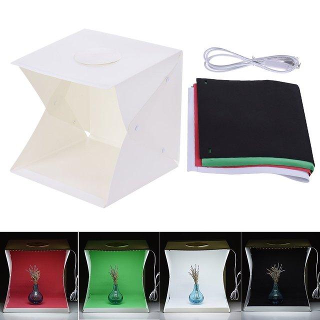 2 LED Folding Lightbox 40*40 Portable Photography Photo Studio Softbox Background Kit  Light Box For DSLR Camera 1