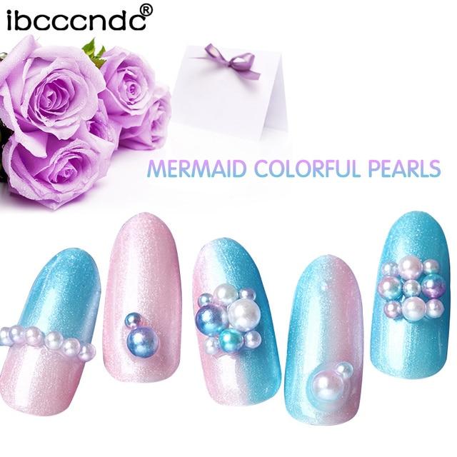 1 Box Mermaid Colorful Pearl Nail Art Studs Resin Nail Rhinestones Shinny  Jelly 3D Decorations in c6f43cb8436e