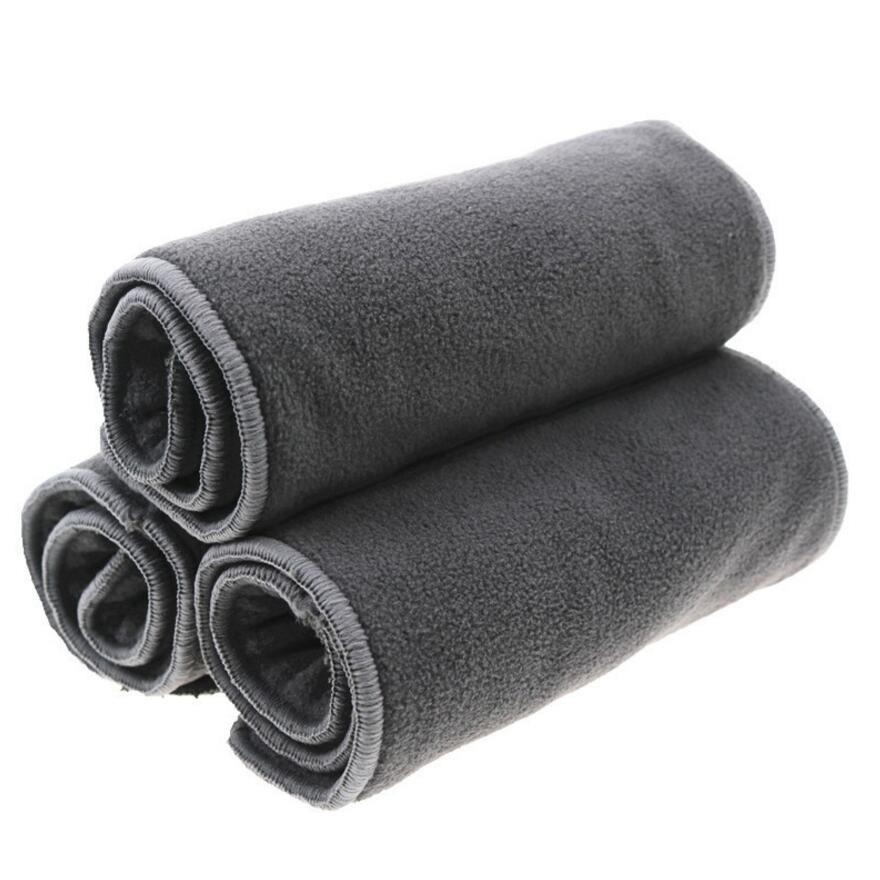 3 pcs/lot charbon de Bambou adulte couches 5 Couche Microfibre Inserts En Tissu Couches Collecteur D'urine pour Adolescent Adulte Diappers S17D5